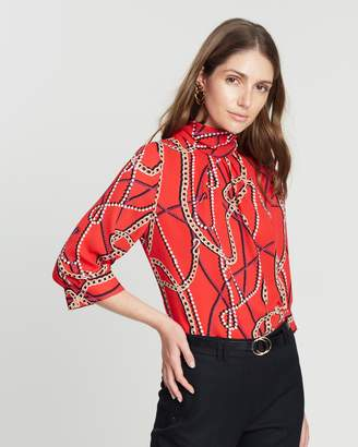 Dorothy Perkins Chain Print Long Sleeve Tie Front Top