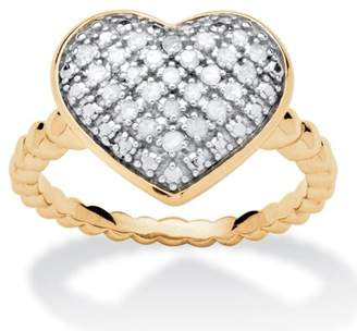 PalmBeach Jewelry Palm Beach Jewelry 1/4 TCW Diamond Puffed Heart Ring Set in 18k Gold Over Sterling Silver
