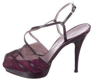 Alberta Ferretti Suede Platform Sandals