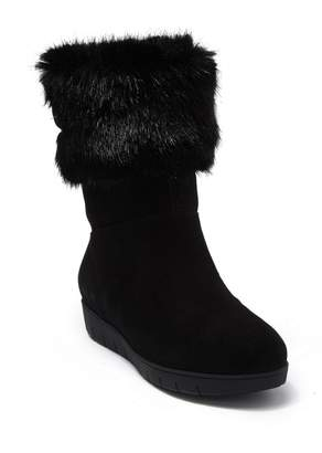 Aquatalia Walda Faux Fur Trimmed Waterproof Hidden Wedge Boot