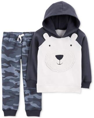 Carter's Baby Boys 2-Pc. Bear Hoodie & Camo-Print Jogger Pants Set