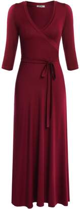 Meaneor Womens Long Sleeve Maxi Full Length Wrap Crossover Dress, Red/S