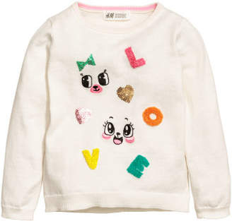 H&M Knit Sweater with Motif - White