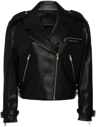 Prada cropped leather biker jacket with zipper