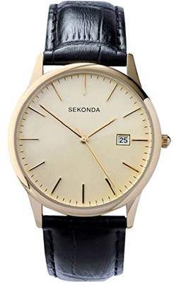 Sekonda Men's Quartz Watch with Dial Analogue Display and Black Leather Strap 3697.27