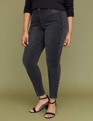 Lane Bryant Super Stretch Skinny Jean - Black Lace-Up