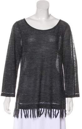 Joie Fringe-Trimmed Knit Sweater