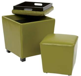 Office Star OSP Designs by Products Eco Leather Storage Ottoman