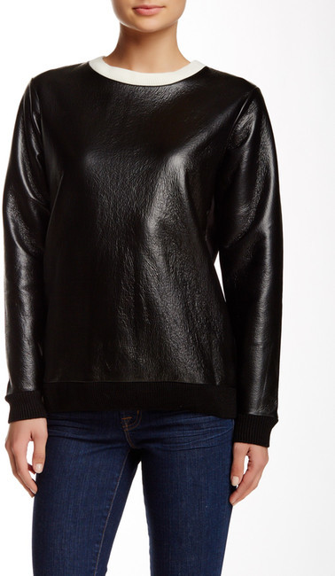 French Connection Faux Leather Top