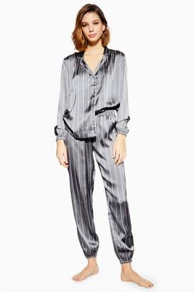 Topshop Grey Satin Striped Pyjama Trousers