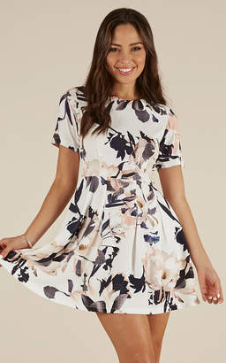 Showpo Fast Play dress in white print