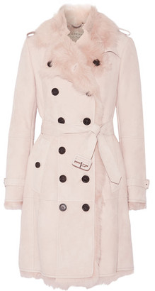 Burberry - Toddingwall Shearling Trench Coat - Blush $3,295 thestylecure.com