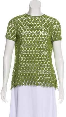 Tory Burch Short Sleeve Crochet Blouse