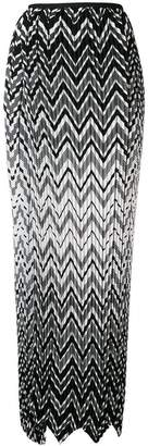 Krizia pleated chevron print skirt