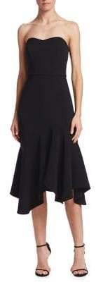 Halston Strapless Flounce Sheath Dress