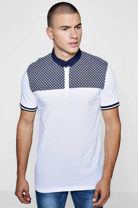 boohoo Short Sleeve Polka Dot Yoke Polo