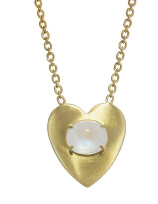 Irene Neuwirth Rainbow Moonstone and Large Flat Gold Heart Necklace - Yellow Gold