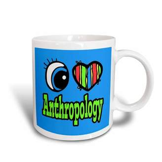 3dRose Bright Eye Heart I Love Anthropology, Ceramic Mug, 11-ounce