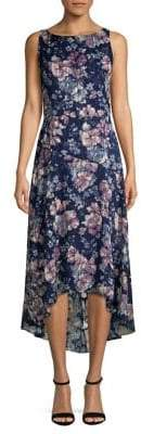 Vince Camuto Floral Burnout High-Low Midi A-Line Dress