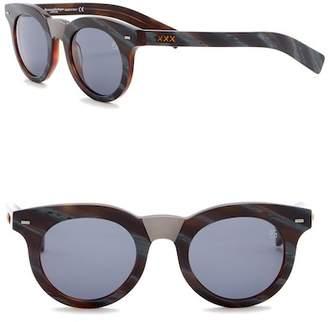 Ermenegildo Zegna 47mm Round Sunglasses