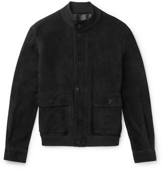 The Row James Suede Bomber Jacket - Dark gray