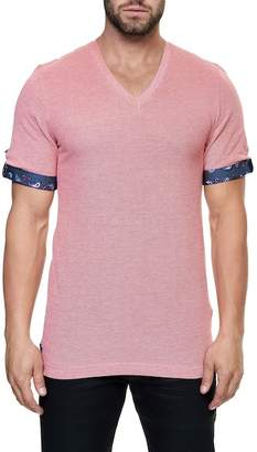 Maceoo Short Sleeve V-Neck T-Shirt with Woven Cuffs