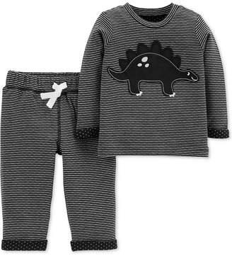 Carter's Baby Boys 2-Pc. Striped Dinosaur Top & Pants Set