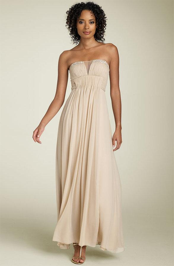 BCBGMAXAZRIA Strapless Split Neck Silk Chiffon Gown