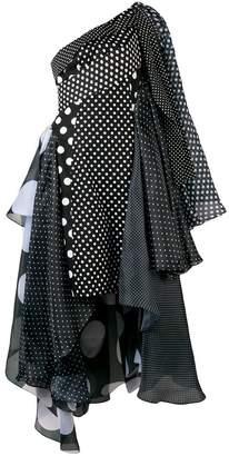 Richard Quinn polka dot asymmetric dress