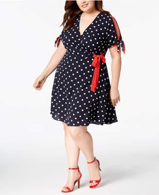 Love Squared Trendy Plus Size Polka Dot Faux-Wrap Dress