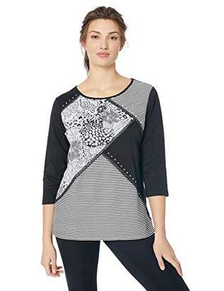 Alfred Dunner Women's Splice Stripe and Print Knit Top with Side Slits