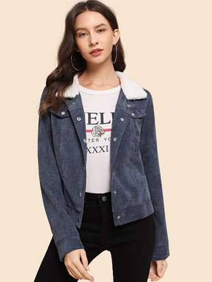 Shein Fleece Contrast Collar Corduroy Jacket