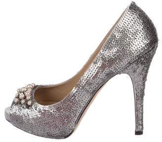 Valentino Sequin Peep-Toe Pumps