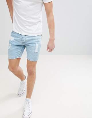 Brave Soul Light Wash Ripped Denim Shorts