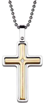 """Generic Polished Cross with CZ Accent Two-Tone Stainless Steel Pendant, 20"""""""