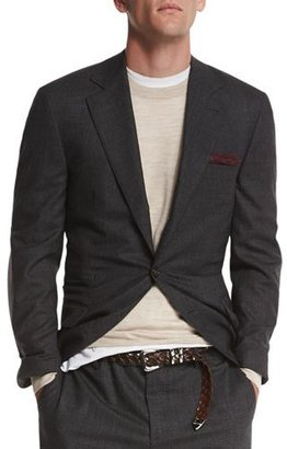 Brunello Cucinelli Textured Two-Button Wool Blazer, Charcoal $4,295 thestylecure.com