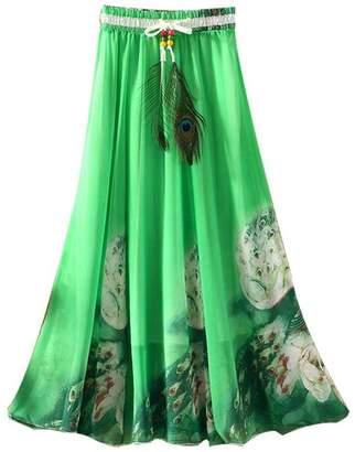 Kafeimali Women's Flowy Summer Chiffon Long Maxi Skirt Boho Beach A-Line Dress