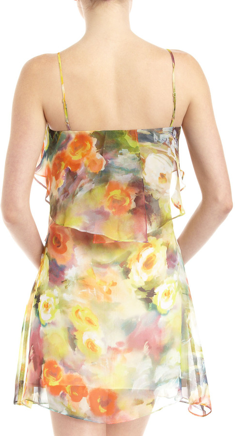Romeo & Juliet Couture Floral-Print Tiered Chiffon Dress, Yellow/Orange