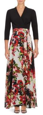 Chetta B Three Quarter Sleeve Two-Tone Floral-Print Gown