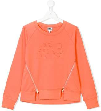 Karl Lagerfeld embossed hashtag zipped sweatshirt