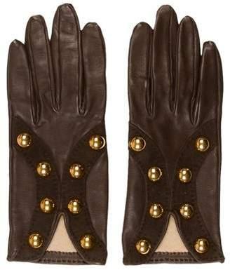 Hermes Leather Studded Gloves