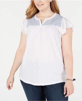 Style&Co. Style & Co Plus Size Cotton Woven-Yoke Top