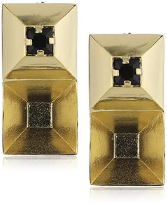 Wouters & Hendrix Women's Yellow Gold Plated 925 Sterling Silver Swarovski Black Studded Earrings