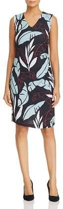 BOSS Erea Leaf-Print Sheath Dress
