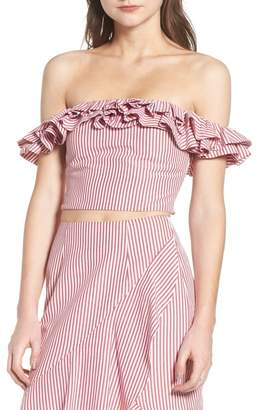 WAYF Anzio Off the Shoulder Ruffle Crop Top