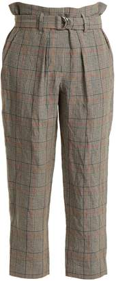 Brunello Cucinelli Check paperbag-waist cropped trousers