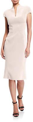Zac Posen Bonded Crepe Slit-Neck Dress