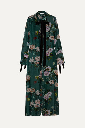Olivia von Halle - Hero Printed Velvet Maxi Dress - Petrol