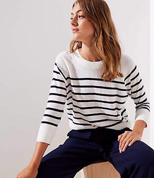 LOFT Petite Striped Dolman Sweater