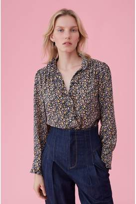 Rebecca Taylor Mini Floral Print Silk Top